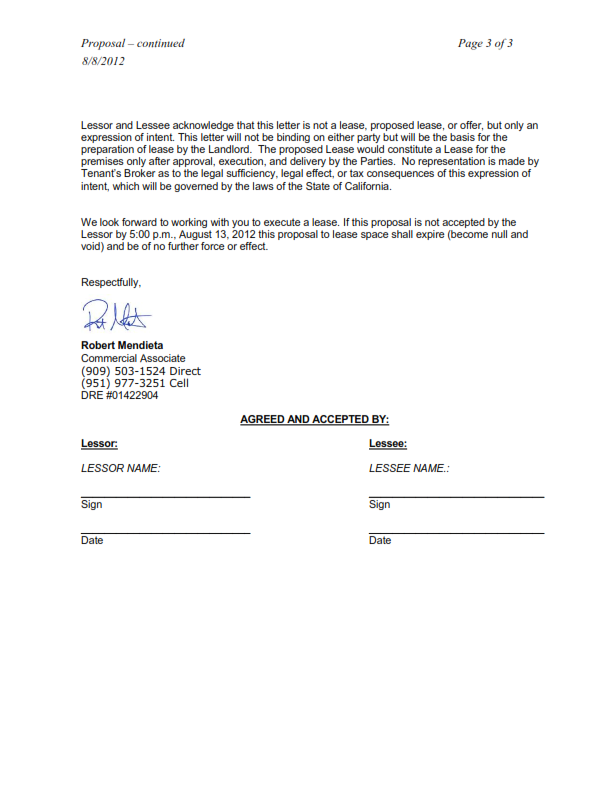 Submittal of a Letter of Intent Proposal Commercial Real – Letter of Intent to Lease Sample